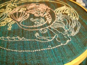 close up of finished embroidery